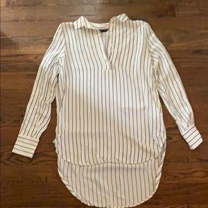 Zara Woman Striped Grey and White Work Blouse